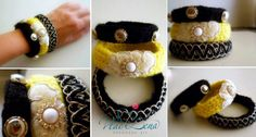 Knitted Bracelets KB 04 WINTER MOOD Set of 3 by Vladilenashandmade, $20.00