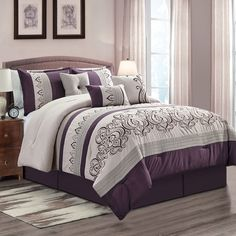 Rica 7 piece comforter set (King), Gray, Elight Home Luxury Comforter Sets, Queen Comforter Sets, Online Bedding Stores, Affordable Bedding, Decorate Your Room, Bed Styling, Decorative Cushions, Fashion Room, Bed Sizes