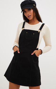 Women's Denim Dresses Jean & Overall Dresses PrettyLittleThing USA woman jeans dress - Woman Jeans Black Denim Skirt Outfit, Denim Skirt Outfits, Denim Dresses, Jeans Dress, Black Pinafore Dress Outfit, Dress Black, Dresses Dresses, Denim Skirts, Denim Overalls