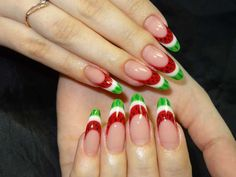 Watermelon slices French mani on long nails :: one1lady.com :: #nail #nails #nailart #manicure