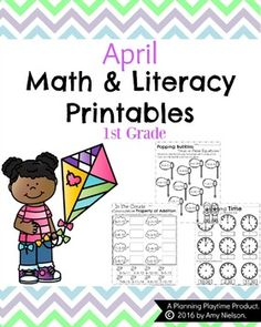 Grade Math and Literacy Printables - April by Planning Playtime First Grade Worksheets, 1st Grade Math, Grade 1, Second Grade, Free Printable Worksheets, Preschool Worksheets, Preschool Prep, Preschool Ideas, Free Printables