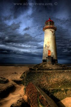 Abandoned lighthouse at Point of Ayre, Talacre Beach, Flintshire, North Wales, UK