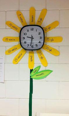 Math Activities For Kids, Preschool Math, Teaching Math, Finnish Language, Tot School, Classroom Management, Clock, Education, Decor