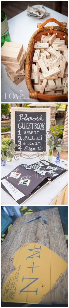 Wel of geen gastenbork?? Hier een paar ideetjes! Wedding Decorations » 22 of Our Favorite Unique Wedding Guest Book Ideas » ❤️ More: http://www.weddinginclude.com/2017/05/unique-wedding-guest-book-ideas/