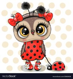 Cute owl girl in a ladybug costume and ladybug vector Cute Owl Drawing, Cute Drawings, Owl Wallpaper, Wallpaper Iphone Cute, Owl Clip Art, Owl Art, Cute Cartoon Pictures, Cute Pictures, Cute Owl Cartoon