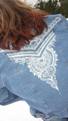 Riders Jean Jacket size M with henna mehndi bleach by Behennaed,