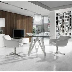 Mesa Comedor Cristal B063 Lacado Negro Mate de Angel Cerdá. Muebles modernos de diseño en Nuryba.com