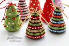 Start one or two of these Christmas crochet projects now to get a jump on all kinds of holiday happenings, from office and hostess gifts to wonderful warm and cozy holiday crochet crafts for stocking stuffers, guest room decorations, and more. Crochet Tree, Christmas Tree Pattern, Christmas Crochet Patterns, Crochet Christmas Ornaments, Little Christmas Trees, Holiday Crochet, Colorful Christmas Tree, Crochet Crafts, Crochet Projects