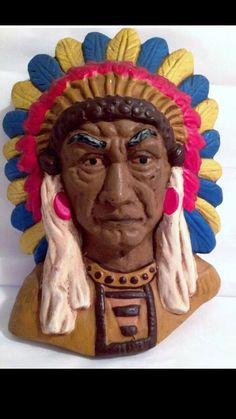 "Vintage Collectible Indian Chief Head Bust Wall Hanging 7"" Tall, Handmade, Original Ceramic"