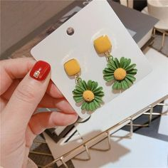 Charm Jewelry 2020 New Daisy Flower Earrings For Women Korean Styles Spring Summer Boho Jewelry Beach Holiday Pendientes Accessories | Touchy Style Unique Earrings, Flower Earrings, Women's Earrings, Earrings Handmade, Charm Rings, Charm Jewelry, Boho Jewelry, Pinterest Jewelry, Beach Holiday