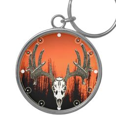 Whitetail deer skull Silver-Colored round keychain