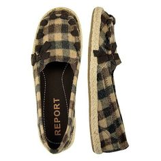 Report Webster Shoe ($4.49) ❤ liked on Polyvore featuring shoes, flats, slip on shoes, multi brown, deck shoes, plaid flats, brown flats, boat shoes and flat shoes
