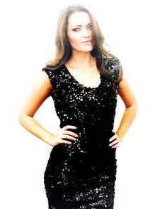 5508fdd33fd Shop Kami Shade  - Plus Size Fashion Black Sleeveless Sequin Dress