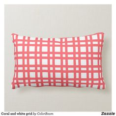 Coral and white grid lumbar pillow Lumbar Pillow, Throw Pillows, Pink Cushions, Custom Pillows, Party Hats, Grid, Art Pieces, Coral, Peach