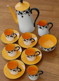 Art Deco Bubbles Royal Worcester coffee set / look of clarice cliff susie cooper