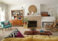 Decorating living room with vintage rattan chair