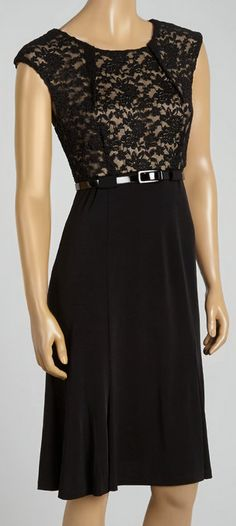 Black & Nude Lace Belted Blouson Dress