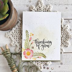 Thinking of You Card by Heather Nichols for Papertrey Ink (February 2018)