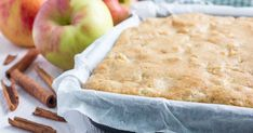 Whether you're entertaining guests or making a new sweet treat for your family, nobody will know you made some nutritional swaps in these delectable apple blondies, like sugar for maple syrup, and wheat flour for organic coconut flour. Spiced Apples, Cinnamon Apples, Dehydrated Apples, Dairy Free Baking, Dairy Free Cream, Dog Cookies, Sin Gluten, Coconut Flour, Blondies