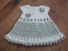 Hand Crocheted Baby Dress Cream & Brown por Maisymoocrochet en Etsy