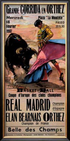 Great Bullfight in Orthez Giclee Print Grande Corrida en Orthez - Art Of Equitation Vintage Maps, Vintage Travel Posters, Madrid, Wall Art Prints, Poster Prints, Spanish Posters, Cool Posters, France, Print Store