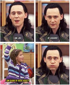 "Hee.... I would laugh so hard if he looked right into the camera and said "" I'd like to go back to my prison cell now"" ( Having to be with the kids is part of Loki's punishment for New York)"