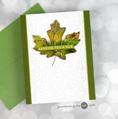 Sending You A Hug, Jennifer Mcguire Ink, Thanksgiving Place Cards, Leaf Cards, Shaker Cards, Fall Cards, Card Making Inspiration, Simon Says Stamp, Free Gifts
