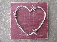 Distressed rustic wooden barbed wire  heart sign rustic by bobwire, $16.00
