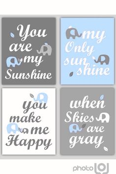 Art for Boys Room Light Blue and Gray Nursery Decor Prints You Are My Sunshine Elephant and leaf - 8x10 - baby shower gift, for boy or girl on Etsy, $55.00