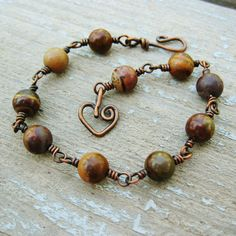 Antiqued Copper and Chinese Wrting Stone by BearRunOriginals, $20.00