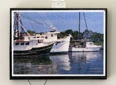 Shem Creek Boats-Charleston, South Carolina Sealed with Mod Podge, this photo plaque is displayed as simple, wall art.