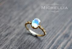 「Evelina」 Note: due to the rising cost of high quality moonstone gems in this size, the price for this particular moonstone ring will go up