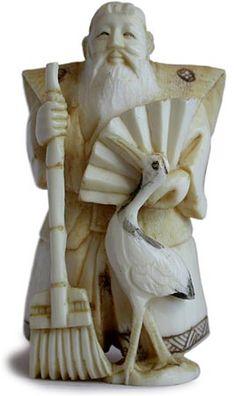 Vintage Japanese Carved Netsuke  Jotomba Jou Raking In Fortune  Signed: Chokushi, Circa: early 1900's