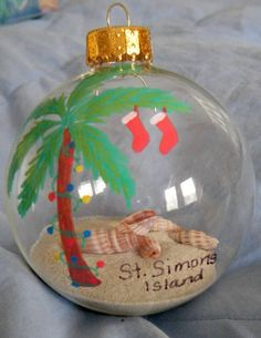 Add new and unique christmas tree ornaments by making seashell palm tree ornament with sand and shells sand n sea properties llc galveston tx solutioingenieria Gallery
