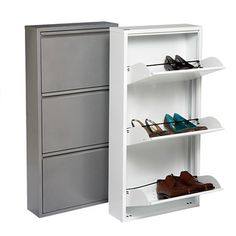 """Could this be made in wood? Only 6"""" deep could fit behind front door when open. 3-Drawer Shoe Cabinet"""