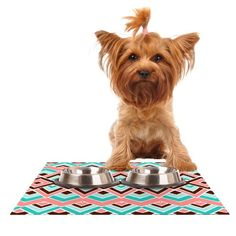Kess InHouse Pom Graphic Design 'Eclectic' Peach Teal Feeding Mat for Pet Bowl, 24 by 15-Inch >>> Check out the image by visiting the link. (This is an affiliate link) #MyPet