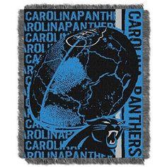 NFL Panthers Throw Blanket 46 X 60 Football Themed Bedding Sports Patterned Team Logo Fan Merchandise Athletic Team Spirit Fan Blue Black Silver Acrylic