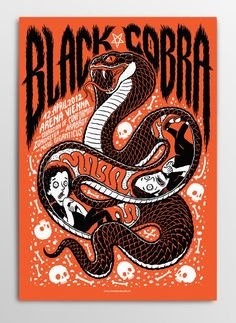 Screen printed gig poster for Black Cobra at Arena Wien by illustrator Michael Hacker Kunst Poster, Poster S, Poster Prints, Screen Print Poster, Illustration Design Graphique, Illustration Photo, Rock Posters, Band Posters, Music Posters
