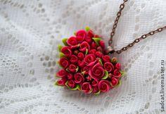 """Подвеска """"сердце из роз"""" - ярко-красный,алый,красные розы,кулон с розами"""