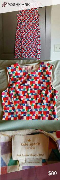 """Kate Spade Geometric Dress size 6 So adorable!!! Keyhole back with single button closure, side zip, unlined. Measures approximately 16"""" from pit to pit, 22"""" from waist to bottom hem. kate spade Dresses"""