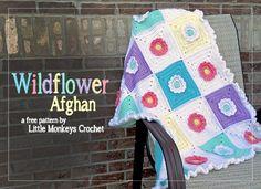 Wildflower Granny Square Afghan | Little Monkeys crochet