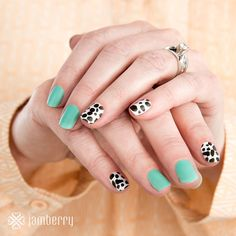 A little bit fierce and a little bit playful, these black-and-white #DalmatianJN spots in a matte-finish and paired with #LagoonJN are oh-so-cute! #Jamberry #nailwraps #diynails #nailart #lacquer  https://jamwithalyssajo.jamberry.com/us/en/