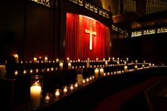 A Choir of Candles at Country Club Christian Church by Blue Bouquet, www.bluebouquet.com