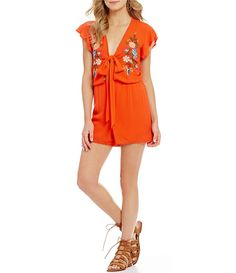 Dillard's GB Embroidered Pom-Pom Detail Cutout V-Neck Romper (also in black) - $59