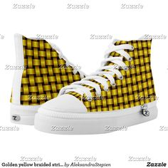 Golden yellow braided stripes. High-Top sneakers Golden Yellow, Custom Sneakers, On Shoes, Converse Chuck Taylor, High Tops, High Top Sneakers, Your Style, Stripes, Pairs