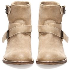 HIDE STRAP ANKLE BOOTS - · Boots and ankle boots - FOOTWEAR -... ($31) ❤ liked on Polyvore featuring shoes, boots, ankle booties, botas, zapatos, strappy bootie, strap boots, ankle boots, ankle strap booties and bootie boots