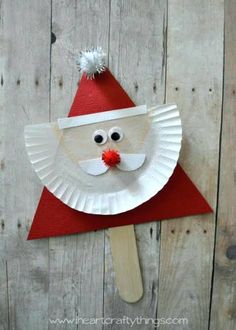 Santa and Reindeer Stick Puppets - Rentier basteln 3d Christmas, Christmas Crafts For Kids, Christmas Themes, Holiday Crafts, Christmas Ornaments, Kids Crafts, Santa Crafts, Preschool Crafts, Kindergarten Christmas Crafts