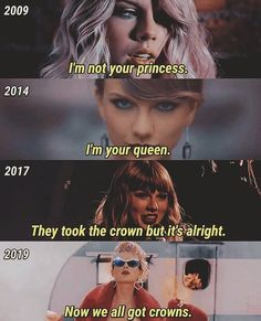 Taylor Swift - Crowns over the years - taylor swift quote quotes taylor swift taylor swift quotes inspirational taylor swift love quotes taylor swift lol lyrics taylor swift clean taylor swift taylor swift art taylor swift clean funny taylor swift Taylor Swift Clean, Taylor Swift Funny, Taylor Swift Music, Long Live Taylor Swift, Taylor Swift Quotes, Taylor Swift Pictures, Taylor Alison Swift, Taylor Songs, Sara Bareilles