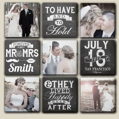 Customized Multiple Wedding Canvases with Date, Name and Photos 9 or 4! #weddingscrapbooks