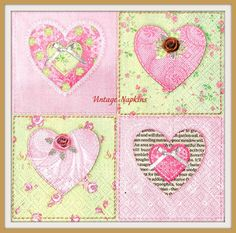 SALE *** TWO Paper napkins for DECOUPAGE - Vintage Pink Hearts #291 by VintageNapkins on Etsy